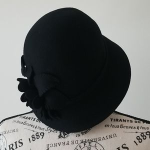 Adora Hats Wool Felt Cloche with Self Floral Duo